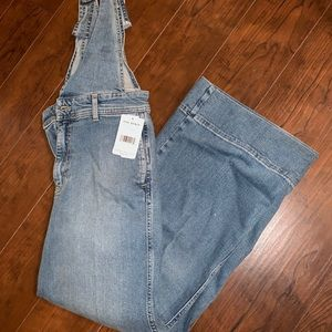 Free people overalls in beach blue light wash
